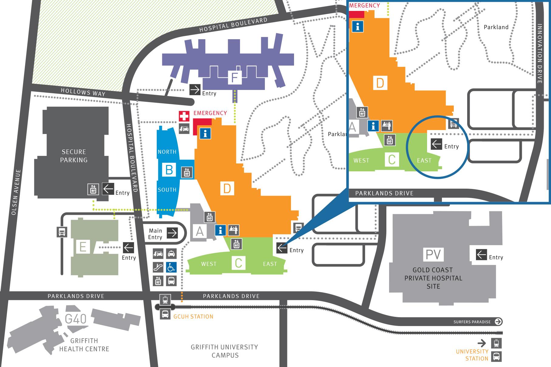 Gold Coast University Hospital Map Patient pick up and drop off | Gold Coast Health