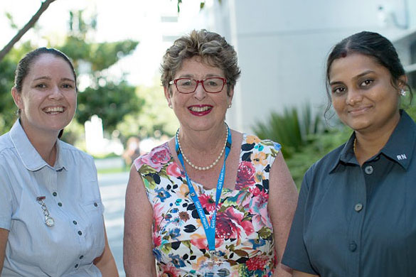 Dr Anita Bamford-Wade with Registered Nurses Rebecca Bennett and Rajalaxmi Subbarayan
